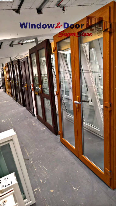 PVC French Doors Mahogany, Golden Oak: New, Mismeasured & Reconditioned. Large range of prices to suit all budgets.
