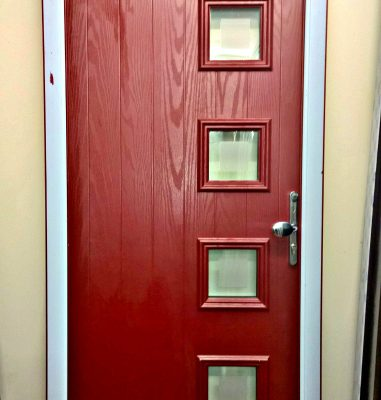 New Made-to-Measure Door Red - Composite or PVC available, any RAL colour.